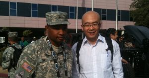 Yuhua Deng meets US army representative
